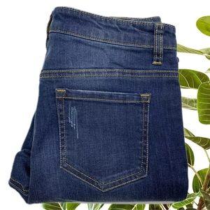 Decjuba Size 10 Blue Mid Wash Crop Denim Jeans